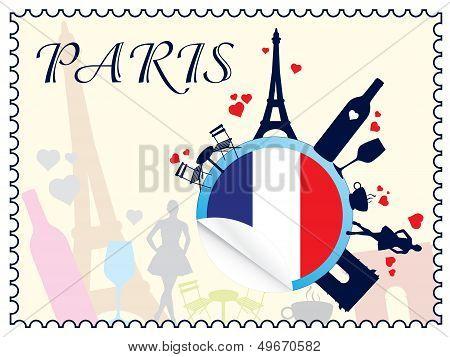 france flag and silhouette landmarks