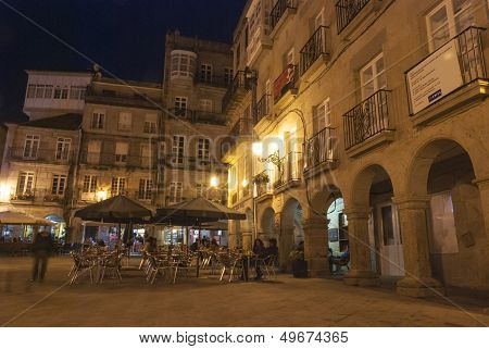 Square In Vigo, Galicia, At Night