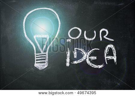 Chalk Design With Lightbulb, Business Idea