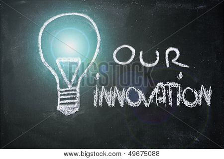 Chalk Design With Lightbulb, Business Innovation