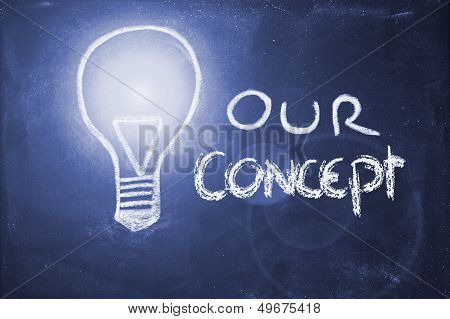 Chalk Design With Lightbulb, Business Concept
