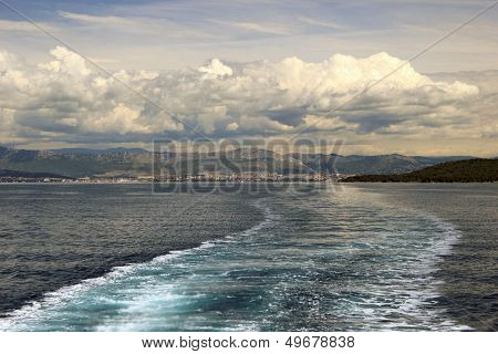 Adriatic Seascape With Ship Trace