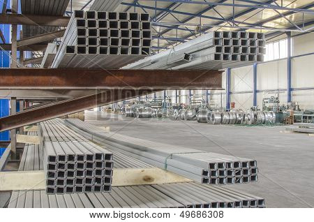 Sheet Metal Tin Profiles In Production Hall