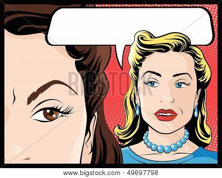 Comic Style Women Gossiping