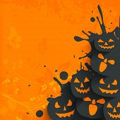 Flyer, poster or banner for Halloween Dance Party on grungy orange background with scary pumpkins.  poster