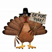 Pilgrim Turkey with Eat More Pork Sign: Turkey Dressed as in a Pilgrim Hat holding an Eat More Pork sign. poster