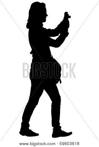 Silhouette yuong girls with photo camera