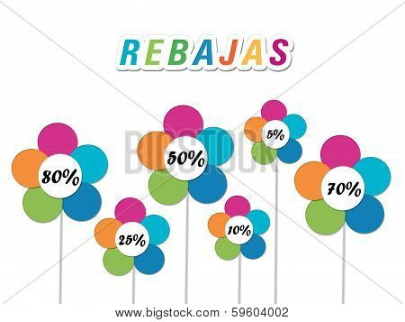 Colorful labels and flowers with discounts