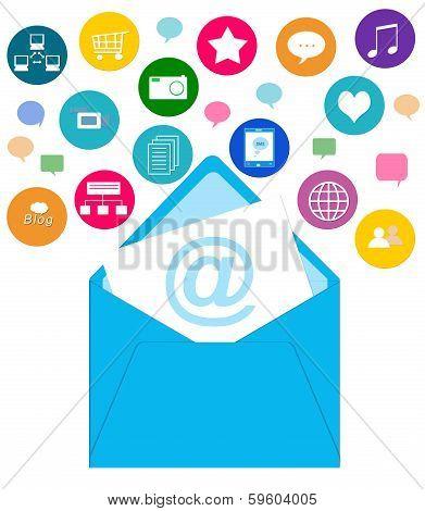 Envelope and icons symbolizing social media