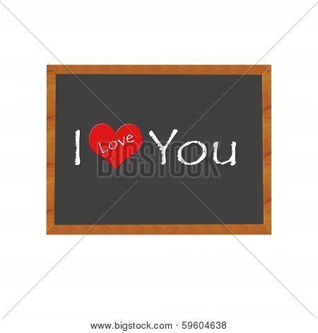 Blackboard symbolizing I Love You
