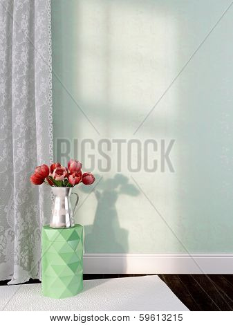 Vase With Tulips On The Green Background