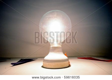A lightbulb illuminated