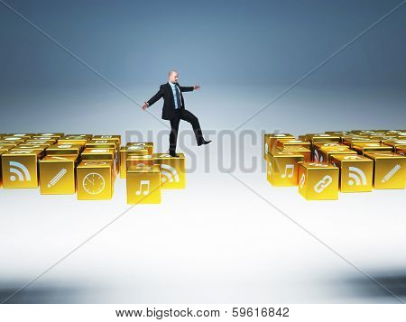 man balance on 3d abstract golden icon bridge