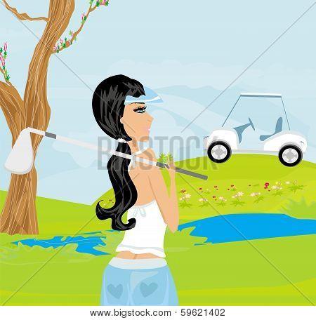 Beautiful Girl Playing Golf