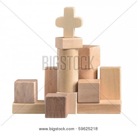 Construction made of wooden blocks. Indoor old game. isolated on white with path.