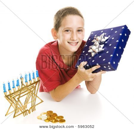 Little Boy Celebrates Chanukah