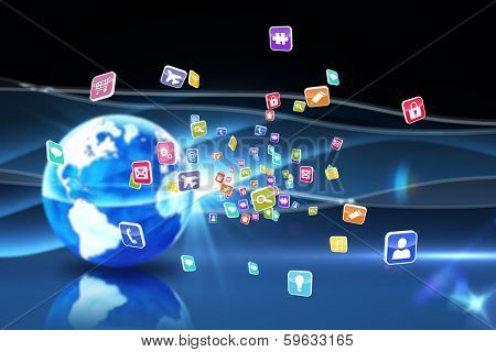 Colourful computer applications against digital earth background poster