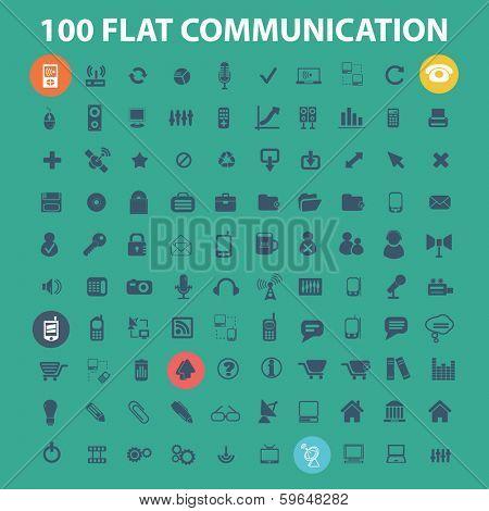 100 flat communication, phone, connection, internet, design icons set, vector