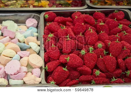 sweet colorful candies in the market