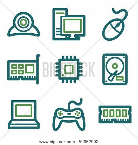 Computer web icons, green line set