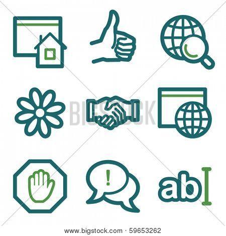 Internet web icons, green line set