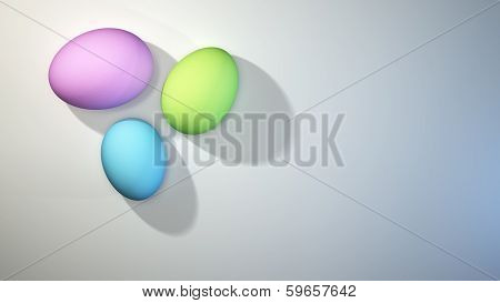 Three colored Easter Eggs on White Background