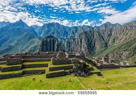Industrial zone and Main Square Machu Picchu, Incas ruins in the peruvian Andes at Cuzco Peru