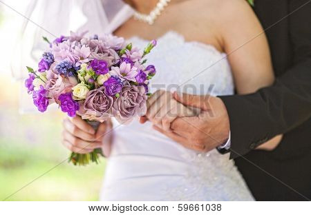 Closeup image of beautiful wedding bouquet