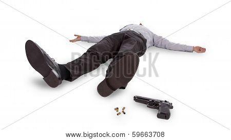 Businessman Lying Dead In The Floor