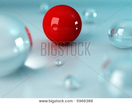 Chain of glass balls with unique red in the middle