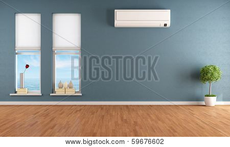 Blue empty room with two windows and air conditioner - rendering poster