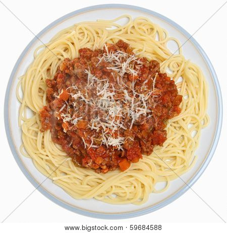 Spaghetti bolognese with visible steam rising