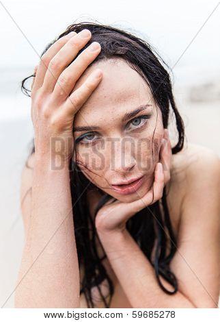 Frozen Wet Young Woman