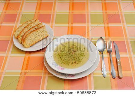 Soup on retro tablecloth
