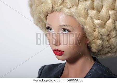 Fashion Model. Ultramodern Woman With Amazing Art Headdress