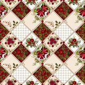 Patchwork seamless pattern texture background with roses and poppies poster
