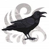 Cartoon vector illustration of a black raven poster