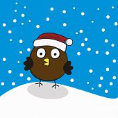 Bird In A Red Cap On Background Winter Snowfall. Vector Illustration poster