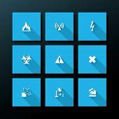 Hazard warning icon set - vector illustration poster
