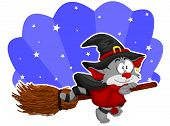 An illustration with cartoon halloween cat-witch on the broom. poster