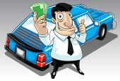 Image of a man who get approval for his car loan. poster
