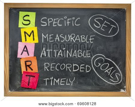set goals SMART (specific, measurable, attainable, recorded, timely) colorful sticky notes and chalk handwriting on a blackboard