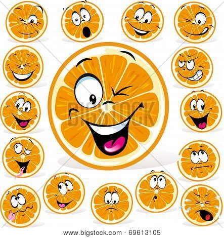 Orange Cartoon With Many Expressions