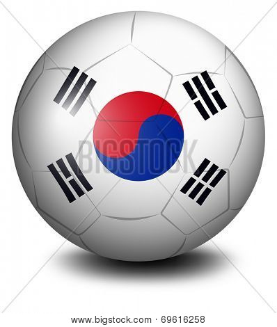 Illustration of a ball with the flag of South Korea on a white background