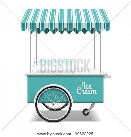 Ice cream cart. Vector.