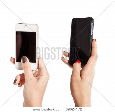 Two Female Hands Take Photos On Mobile Phones