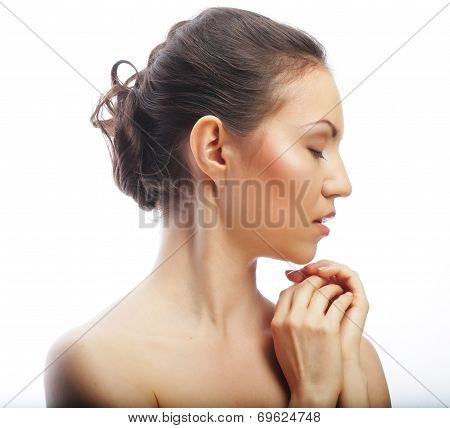 Beautiful woman's face with clean skin