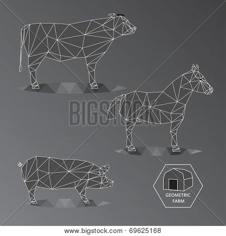 Gray Scale Geometric Illustration Of Big Farm Animals - Triangle Polygons Outline