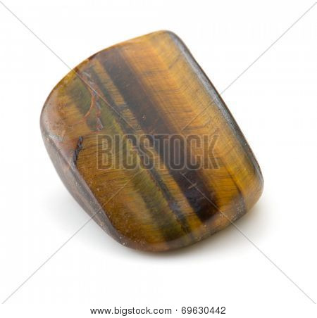 Tiger's eye rock  isolated on white.