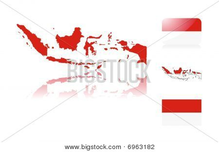 Indonesian map and flags